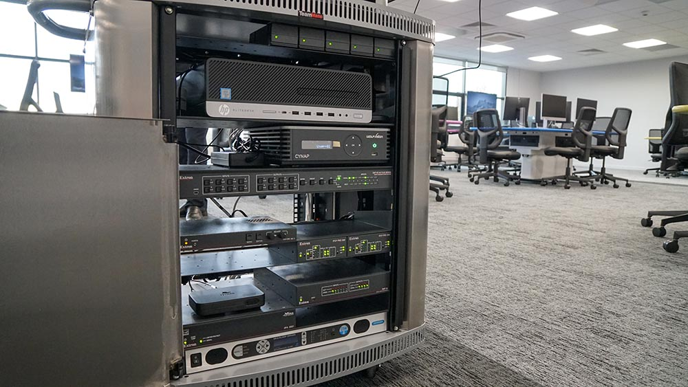 "Main Cynap unit with vSolution MATRIX-enabled feature pack, installed in the 19""rack of a TeamMate Educator lectern."