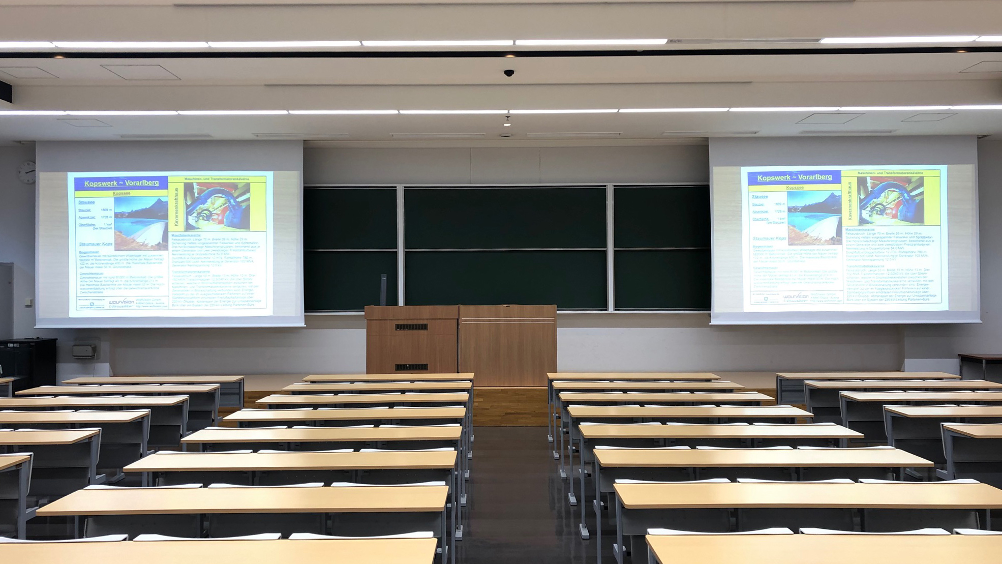 WolfVision Visualizer installed on the lectern at Tokyo Keizai University, Japan.