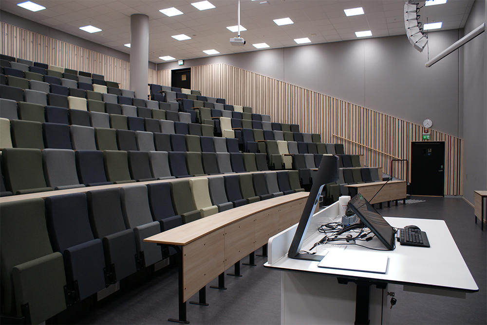 WolfVision VZ-3neo Visualizer installed in an auditorium at BI Norwegian Business school.