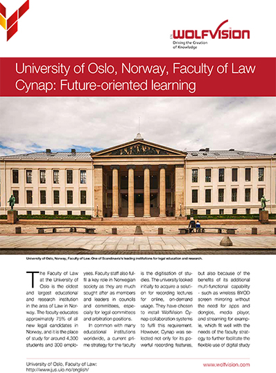 WolfVision case study about the Cynap installation at the University of Oslo