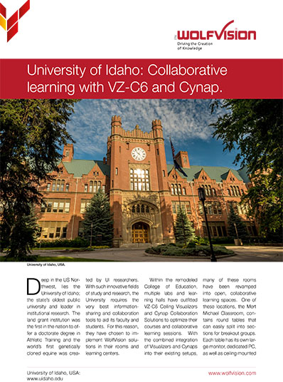 Case study about WolfVision Cynap and Visualizer/camera systems at the University of Idaho, USA.